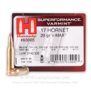 Bulk 17 Hornet Ammo For Sale - 20 Grain V-Max Polymer Tip Ammunition in Stock by Hornady - 250 Rounds