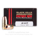 Premium 45 ACP Ammo For Sale - 230 Grain JHP Ammunition in Stock by Black Hills - 20 Rounds