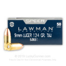 9mm Ammo For Sale - 124 gr TMJ Speer LAWMAN Ammunition In Stock - 50 Rounds
