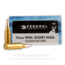 7mm Winchester Short Magnum Ammo For Sale - 150 gr Soft Point Federal Power Shok Ammunition - 20 Rounds