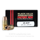 Premium .45 ACP Ammo For Sale – 230 grain JHP Ammunition in Stock by Black Hills - 20 Rounds