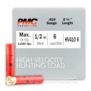 "Cheap 410 Bore Ammo For Sale - 2-1/2"" #6 Lead Shot - High Velocity Ammunition by PMC - 25 Rounds"