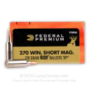 Premium 270 WSM Ammo For Sale - 130 Grain Nosler Ballistic Tip Ammunition in Stock by Federal Vital-Shok - 20 Rounds