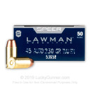 Cheap 45 Auto Ammo - 230 gr TMJ Flat Point - Speer Lawman 45 ACP Ammunition - 50 Rounds