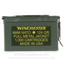 Bulk 9mm NATO Ammo For Sale - 124 Grain FMJ Ammunition in Stock by Winchester USA - 1000 Rounds in Ammo Can
