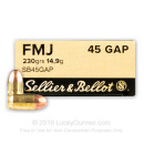 Sellier & Bellot 45 GAP Ammo In Stock - 230 gr FMJ 45 GAP Ammunition For Sale