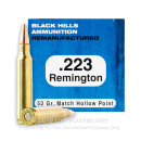 Cheap 223 Rem Ammo For Sale - 52 Grain HP Remanufactured Ammunition in Stock by Black Hills - 50 Rounds
