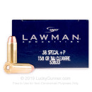Premium 38 Special +P Ammo For Sale - 158 Grain TMJ Ammunition in Stock by Speer Lawman Clean-Fire - 50 Rounds