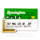 357 Mag Ammo For Sale - 125 gr JSP Remington UMC Ammunition In Stock