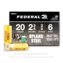 "Cheap 20 Gauge Ammo For Sale - 2-3/4"" 3/4oz. #6 Shot Ammunition in Stock by Federal Upland Steel - 25 Rounds"
