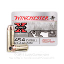 Cheap 454 Casull Ammo For Sale - 250 Grain JHP Ammunition in Stock by Winchester Super-X - 20 Rounds