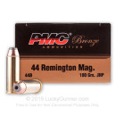 Cheap 44 Mag Defense Ammo For Sale - 180 gr JHP- Reloadable PMC Ammunition Online - 25 Rounds