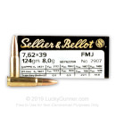 Brass Cased 7.62x39 Ammo In Stock - 123 gr FMJ - 7.62x39 Ammunition by Sellier & Bellot For Sale - 20 Rounds