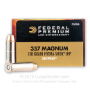 Premium 357 Mag Ammo For Sale - 158 Grain Hydra-Shok JHP Ammunition in Stock by Federal Tactical - 20 Rounds