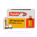 Cheap 22 Short Ammo For Sale - 29 gr - Aguila Super Extra High Velocity Ammunition Online - 50 Rounds