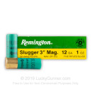 "Cheap 12 Gauge Ammo For Sale - 3"" 1oz. Magnum Rifled SlugAmmunition in Stock by Remington Slugger - 5 Rounds"