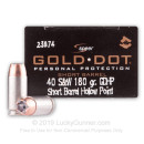 Premium 40 S&W Concealed Carry Ammo In Stock - 180 gr JHP - 40 S&W Ammunition by Speer Gold Dot Short Barrel For Sale - 20 Rounds