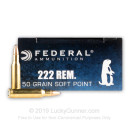 222 Remington Ammo For Sale - 50 gr SP - Federal Power Shok Ammo Online