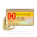 357 Sig Ammo For Sale - 147 gr JHP XTP Hornady Ammunition In Stock - 200 Rounds