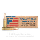 Premium 5.56x45 Ammo For Sale - 68 Grain BTHP Match Ammunition in Stock by Hornady Frontier - 20 Rounds