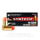 Premium 40 S&W Ammo For Sale - 205 Grain Total Synthetic Jacket Ammunition in Stock by Federal Syntech Action Pistol - 50 Rounds