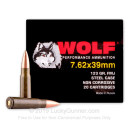 Bulk Wolf Performance Ammo - 7.62x39 123 grain FMJ Ammo - 1000 Rounds