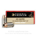 Bulk 45 ACP Ammo For Sale - 230 Grain Hydra-Shok JHP Ammunition in Stock by Federal Premium - 500 Rounds