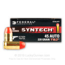 Premium 45 ACP Ammo For Sale - 220 Grain Total Synthetic Jacket Ammunition in Stock by Federal Syntech Action Pistol - 50 Rounds