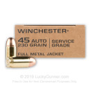 Bulk 45 ACP Ammo For Sale - 230 Grain FMJ Ammunition in Stock by Winchester Service Grade - 1000 Rounds