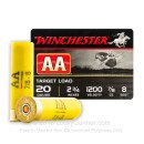 "Cheap 20 Gauge Ammo For Sale - 2-3/4"" 7/8 oz. #8 Shot Ammunition in Stock by Winchester AA - 25 Rounds"