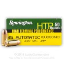 Bulk 45 ACP Ammo For Sale - 230 gr JHP Subsonic Remington HTP Ammunition In Stock - 500 Rounds