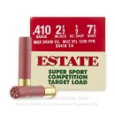 "Premium 410 Gauge Ammo For Sale - 2-1/2"" Max Dram 1/2 oz. #7-1/2 Shot Ammunition in Stock by Estate Super Sport Competition - 25 Rounds"