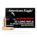 Bulk 22 LR - 45 gr CPRN - Suppressor - Federal American Eagle - 500 Rounds