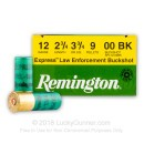 "Bulk 12 Gauge Ammo For Sale - 2 3/4"" 3 3/4 Dram 9P 00 Buckshot Ammunition in Stock by Remington LE - 250 Rounds"