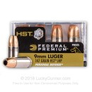 Premium 9mm Ammo For Sale - 147 Grain HST JHP Ammunition in Stock by Federal Personal Defense - 200 Rounds