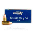 Cheap 9mm Ammo For Sale - 124 Grain FMJ Ammunition in Stock by Independence - 50 Rounds