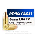 Cheap 9mm Luger Ammo For Sale - 124 Grain FMJ Ammunition in Stock by Magtech - 50 Rounds