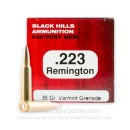 Premium 223 Remington Ammo For Sale – 36 grain Varmint Grenade Ammunition in Stock by Black Hills - 50 Rounds