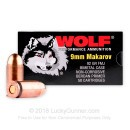 Cheap 9mm Makarov Ammo - Wolf WPA 92gr FMJ - 50 Rounds