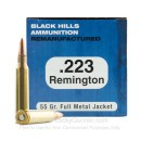 Cheap 223 Rem Ammo For Sale - 55 Grain FMJ Ammunition in Stock by Black Hills Remanufactured - 50 Rounds