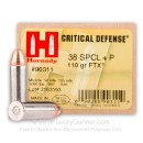38 Special +P Defense Ammo For Sale - 110 gr JHP FTX Hornady Ammunition In Stock - 25 Rounds