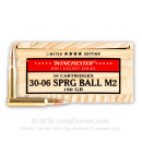 Cheap 30-06 M1 Garand Ammo For Sale - 150 Grain FMJ Ammunition in Stock by Winchester WWII Victory Series - 20 Rounds
