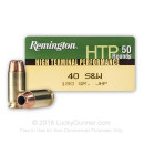 Cheap 40 Cal Ammo For Sale - 180 gr JHP Remington HTP Ammunition In Stock - 50 Rounds