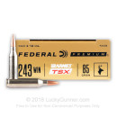 Premium 243 Ammo For Sale - 85 Grain Barnes TSX Ammunition in Stock by Federal - 20 Rounds