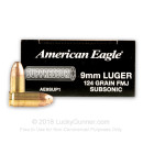 Cheap 9mm Ammo For Sale - 124 gr FMJ - Federal American Eagle Suppressor Ammunition For Sale