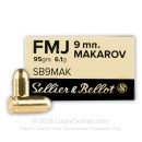 9mm Makarov (9x18mm) Luger Ammo For Sale - 95 gr FMJ Sellier & Bellot Ammunition For Sale