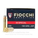 Cheap 38 Special Ammo For Sale - 158 gr JHP Fiocchi Ammunition In Stock - 50 Rounds