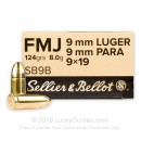 Sellier & Bellot 9mm Ammo - 124 gr FMJ