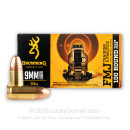 Cheap 9mm Ammo For Sale - 115 Grain FMJ Ammunition in Stock by Browning - 100 Rounds