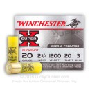 "Bulk 20 Gauge Ammo For Sale - 2 3/4"" 20 Pellet #3 Buckshot Ammunition in Stock by Winchester Super-X - 250 Rounds"